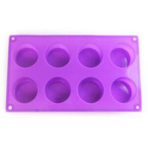 SOAP SILICONE MOLD CIRCLE - แม่พิมพ์สบู่ ซิลิโคน รูปทรงกลม 8 ช่อง สีม่วง