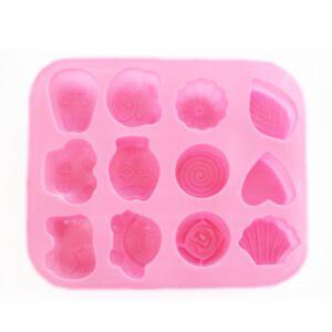 SOAP SILICONE MOLD - แม่พิมพ์สบู่ ซิลิโคน คละลาย 12 ช่อง สีชมพู