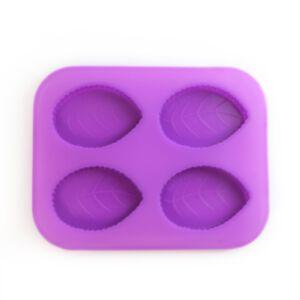 SOAP SILICONE MOLD LEAVE-แม่พิมพ์สบู่ซิลิโคน รูปใบไม้ 4 ช่อง สีม่วง