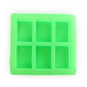 SOAP SILICONE MOLD 100ml - แม่พิมพ์สบู่ ซิลิโคน รูปสี่เหลี่ยมผืนผ้า 6 ช่อง สีเขียว