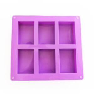 SOAP SILICONE MOLD 100ml - แม่พิมพ์สบู่ ซิลิโคน รูปสี่เหลี่ยมผืนผ้า 6 ช่อง สีม่วง
