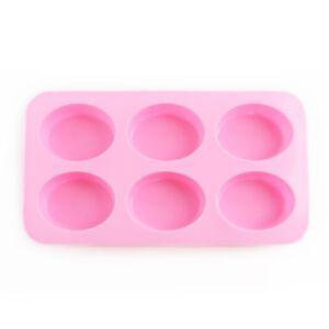SOAP SILICONE MOLD - แม่พิมพ์สบู่ ซิลิโคน รูปทรงรี 6 ช่อง สีชมพู