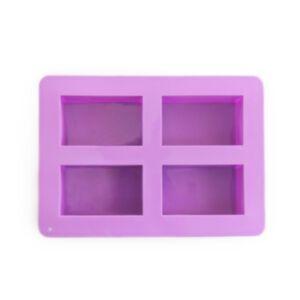 SOAP SILICONE MOLD-แม่พิมพ์รูปสี่เหลี่ยมผืนผ้า 4 ช่อง สีม่วง