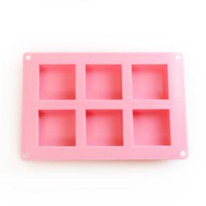 SOAP SILICONE MOLD SQUARE 100ml - แม่พิมพ์สบู่ ซิลิโคน รูปสี่เหลี่ยมจตุรัส 6 ช่อง สีชมพู
