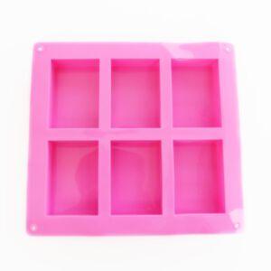 SOAP SILICONE MOLD 100ml - แม่พิมพ์สบู่ ซิลิโคน รูปสี่เหลี่ยมผืนผ้า 6 ช่อง สีชมพู