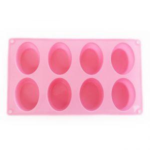 SOAP SILICONE MOLD - แม่พิมพ์สบู่ ซิลิโคน รูปทรงรี 8 ช่อง สีชมพู