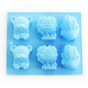 SOAP SILICONE MOLD-แม่พิมพ์สบู่ซิลิโคน รูปสัตว์ป่าคละลาย 6 ช่อง