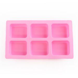 SOAP SILICONE MOLD - แม่พิมพ์สบู่ ซิลิโคน รูปสี่เหลี่ยมผืนผ้า ขอบมน สีชมพู