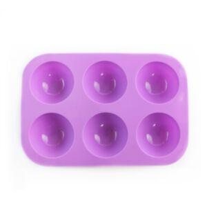SOAP SILICONE MOLD - แม่พิมพ์สบู่ ซิลิโคน รูปครึ่งวงกลม 6 ช่อง สีม่วง