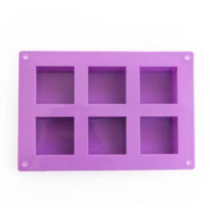 SOAP SILICONE MOLD-แม่พิมพ์รูปสี่เหลี่ยมจตุรัส 6 ช่อง สีม่วง