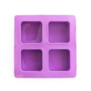 SOAP SILICONE MOLD-แม่พิมพ์รูปสี่เหลี่ยมจตุรัส ขอบมน 4 ช่อง สีม่วง